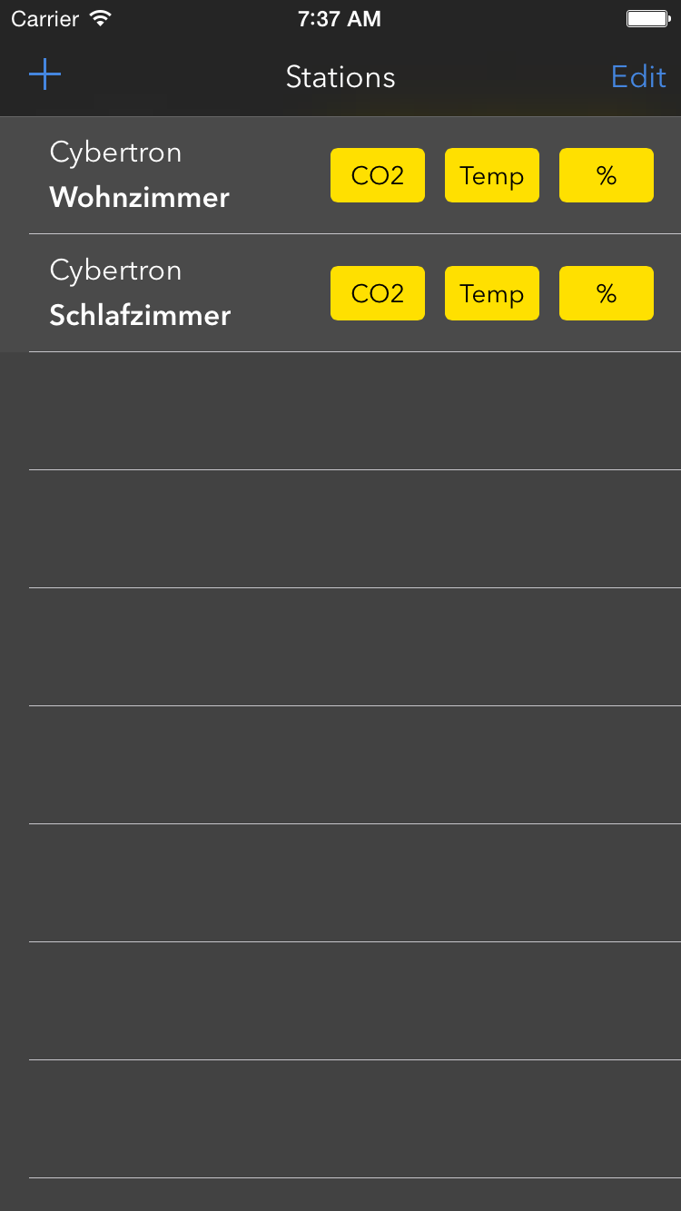 Screenshot der Stationsliste